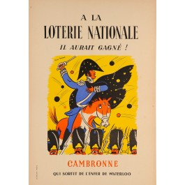 """Original Vintage Loterie Nationale Poster """"Cambronne"""" by Lucien Boucher ca. 1960"""