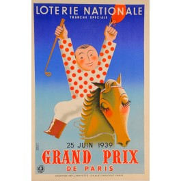 "Original Loterie Nationale Poster ""Grand Prix de Paris"" by Derouet & Lesacq 1939"