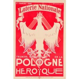 """Loterie Nationale Poster """"Tranche de la Pologne Heroique"""" 1939"""