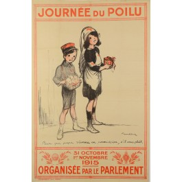 "Original Vintage French WWI Propaganda Poster ""Journe du Poilu"" by Francisque Poulbot  1915"