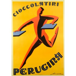 "Original Vintage Italian Chocolate Ad Poster ""Perugina"" by Seneca, 1950's"
