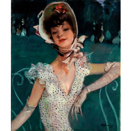 Original painting on Canvas of an Elegant Parisian Women. Rare!