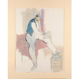 "Signed Painting ""Self Portrait"" by Itzchak Tarkay 1987"