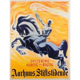 "Original Vintage Danish Newspaper Poster Advertising ""Arhus Stiftstidende"""