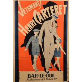 """Original French Poster """"Henri Carteret Clothing Store"""" by G. Raybaud ca.1930"""