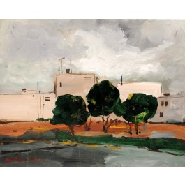 "Signed Painting Acrylic on Canvas by Chaim Rosenthal ""White Buildings"" 1990's"