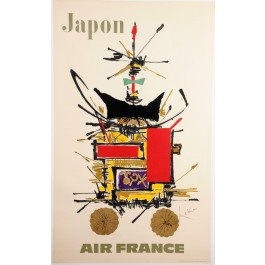 "Original French Poster ""Air France Japon"" Japan by MATHIEU GEORGES 1960's"