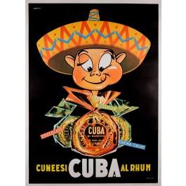 "Original Vintage French Poster Advertising ""Cuba Rhum"" Rum 1960's"