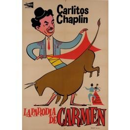 "Charlie (Carlitos) Chaplin Spanish Movie Poster for ""La Parodia de Carmen"" 1950's"