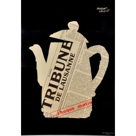 Original Vintage Swiss Poster Advertising the Newspaper Tribune of Lausanne