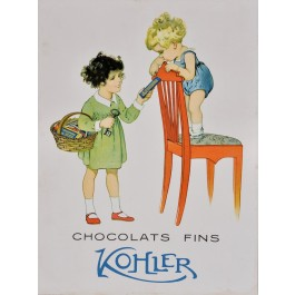 "Original Vintage Swiss Poster Advertising ""Chocolat Fins Kohler"""