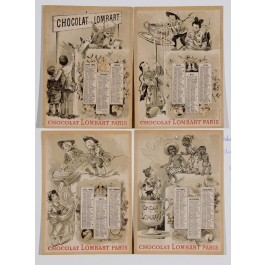 Original Vintage French Poster Advertising Chocolat Lombard Calendar ca. 1900