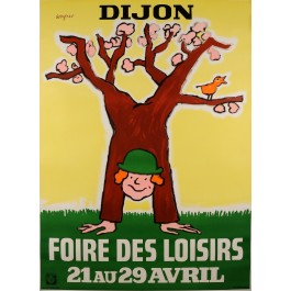 Original Vintage French Poster by Savignac for an Exhibition in Dijon 1970's