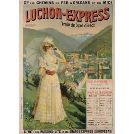 "Original Vintage French Travel Poster ""Luchon-Express"" Spa Resort ca. 1900"