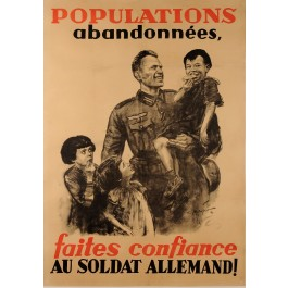 "Original Vintage French WW2 Propaganda Poster ""Populations Abandonnees"" 1940"