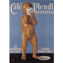 "Original Vintage German Poster ""Cafe Plendl"" Munich by F. Weinberg-Roul ca. 1920"