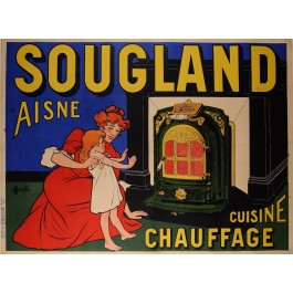 "Original Vintage French Poster ""Sougland-Aisne"" Cook Stove by Muzolle ca. 1900"