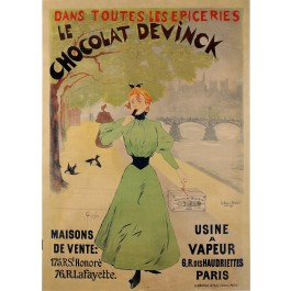 "Original Vintage French Chocolate Poster Advertising ""Devinck"" by Guydo 1893"