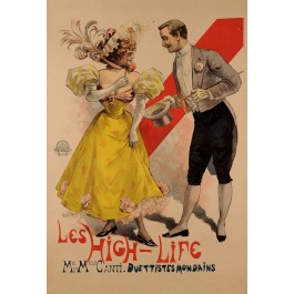 "Original Vintage French Poster Advertising ""Les High Life"" by Louis Oury 1894"