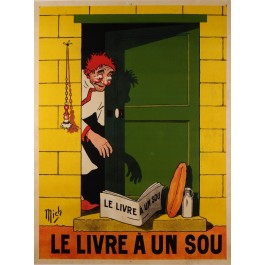 "Original Vintage French Poster ""Le livre A un Sou"" Short Novels by Mich ca. 1920"