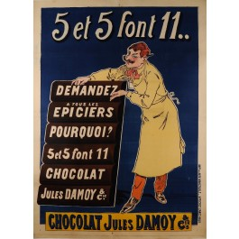 "Original Vintage French Poster for Chocolate ""Jules Damoy - 5 et 5"" ca. 1900"
