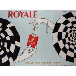 """Original Vintage French Poster """"Royale"""" Cigarettes by VILLEMOT 1960's"""