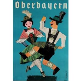 Original Vintage German Travel Poster Advertising Oberbayern Bavaria by Cordier