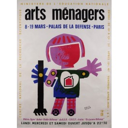 "Original French Advertising Exhibition Poster for the ""Arts Menagers"" by Bernard"
