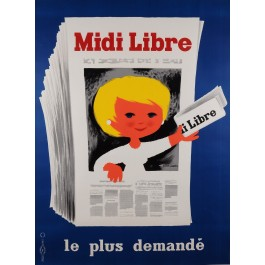 Original Vintage French Poster Advertising Newspaper Midi Libre by Saint-Genies