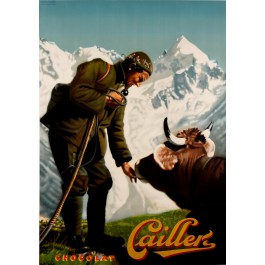"""Original Vintage Swiss Poster for """"Chocolat Cailler"""" 1950's"""