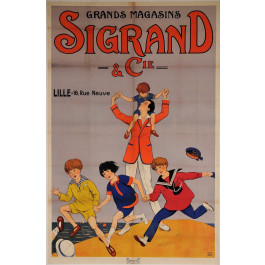 """Original Vintage French OVERSIZE Poster """"Grands Magasins Sigrand & Cie"""" 1920's"""