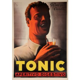 "Original Vintage Italian OVERSIZE Poster for ""Tonic"" Aperitif by Mario Gross"