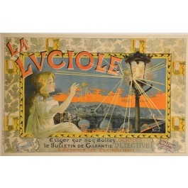 "Original Vintage Italian Alcohol OVERSIZE Poster for ""La Luciole"" by Yedra b ca. 1900"
