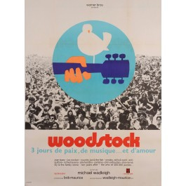 "Original Vintage French Movie Poster Advertising ""Woodstock"" Music Festival 1969"