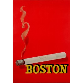 "Original Vintage French poster Advertising ""BOSTON"" Cigarettes 1950's"