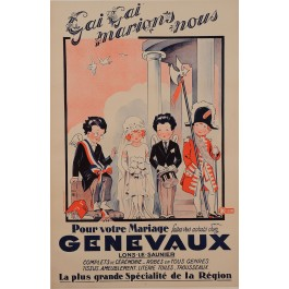 "Original Vintage French Poster Advertising ""Genevaux"" Marriage Clothing by Jack"