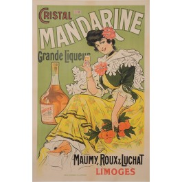 "Original Vintage French Alcohol Poster Advertising ""Cristal Mandarine"" Liquor"