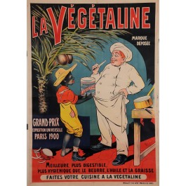 "Original Vintage French Food Poster for ""Vegetaline"" African by Oge ca. 1900"