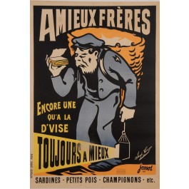 "Original Vintage French Poster for ""Amieux Freres"" Fish Sardines by Jossol 1897"