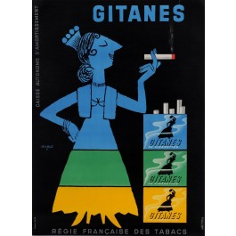 "Original Vintage Small French Poster for ""Gitanes"" Cigarettes by Savignac 1953"