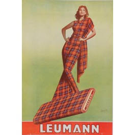 "Original Vintage Italian Fashion Poster Advertising ""Leumann"" by Boccasile 1942"