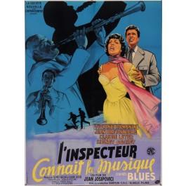"""Original Vintage French Movie Poster for """"L'inspecteur connaît la musique"""" by Joelle Marquet 1956"""