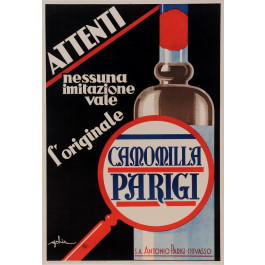 "Original Vintage Italian Alcohol Art Deco Poster for ""Camomilla Parigi"" Drink by Golia 1933"