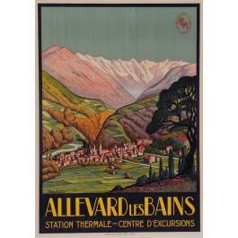 "Original Vintage French Travel Poster for ""Allevard les Bains"" Spa resort by Jean Julien ca. 1925"