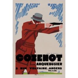 "Original Vintage French Poster for ""Cozenot Arquebusier"" Rifle Firearm by Jean A. Mercier 1927"
