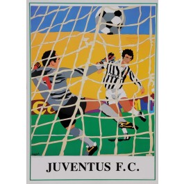 "Original Vintage Italian Poster for ""Juventus F.C"" Football Soccer by Ugo Nespolo 1980's"