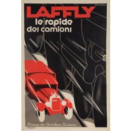 "REPRINT Vintage French Art Deco Poster Advertising ""LAFFLY"" Trucks by Roggero"