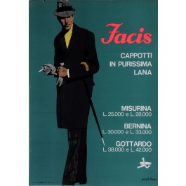 "Original Vintage Italian Fashion Poster Advertising ""Facis"" by Ferenc Pinter '63"