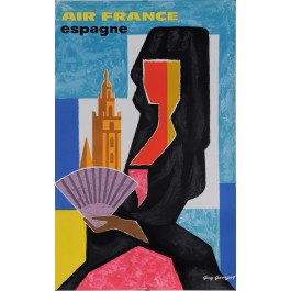"""Original Vintage French Poster for """"Air France Espagne"""" by Guy Georget 1963"""