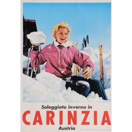 "Original Vintage Austrian Travel Poster for ""CARINZIA"" Ski Resort 1980's"